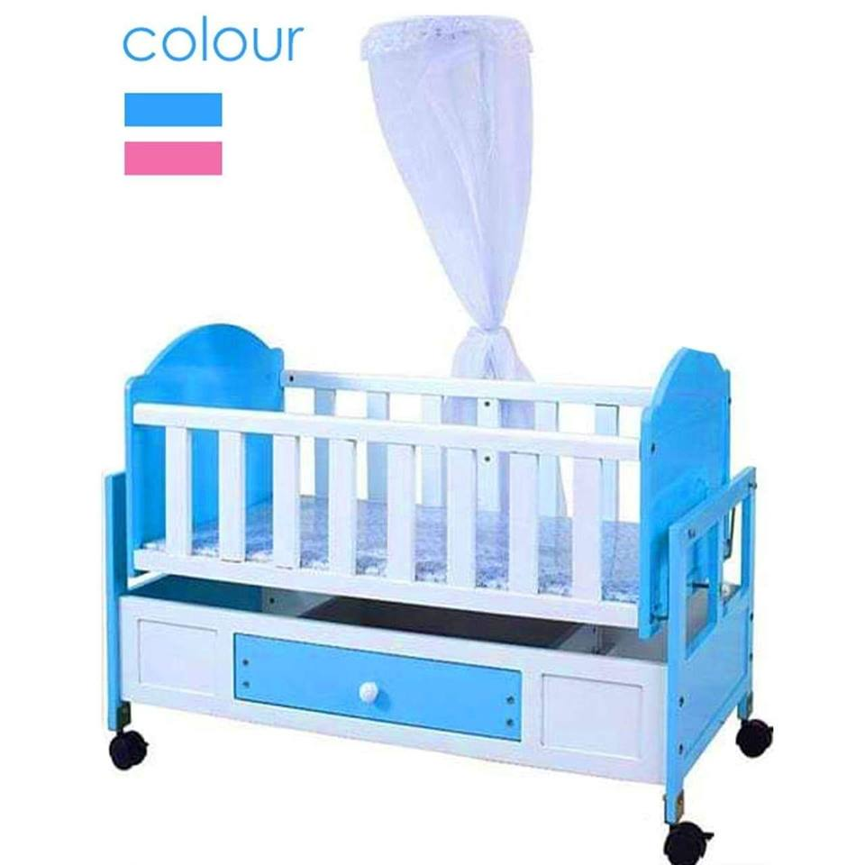 Baby Bucket Baby Wooden Blue Cot with Swinging Cradle & Mosquito Net