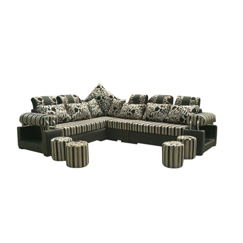 L-Shape Wooden Sectional Sofa -Black