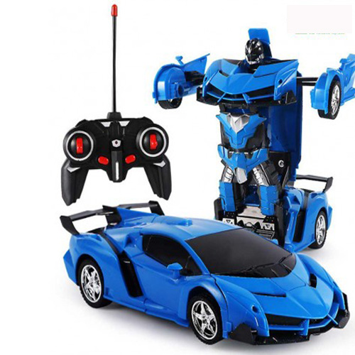 Rechargeable Remote Control Transformer for Kids Robot Racing Car-Blue