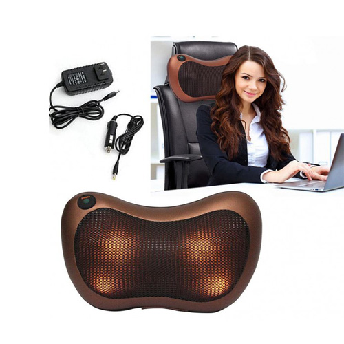 Shiatsu Massage Pillow with Car Adapter and 8 Heated Rollers to Relieve Pain, Deep Kneading Neck Massager, Adjustable Speeds Back/Neck Pillow Massager