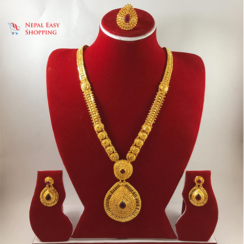 Panchdhatu Rani Haar with Earning Set Gold Plated