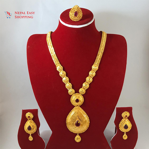 Panchdhatu Gold Plated Rani Haar With Earning Set