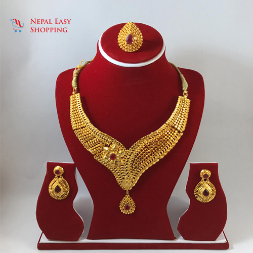 Panchdhatu Gold Plated Rani Haar Set with earrings and ring