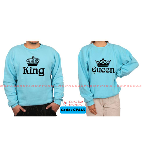 King & Queen - Navyblue  Matching Couple Hoodies - His and Her SweatShirts