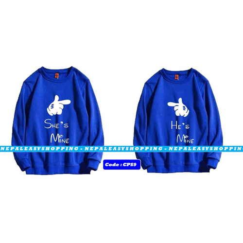 She's Mine & He's Mine - Blue  Matching Couple Hoodies - His and Her SweatShirts