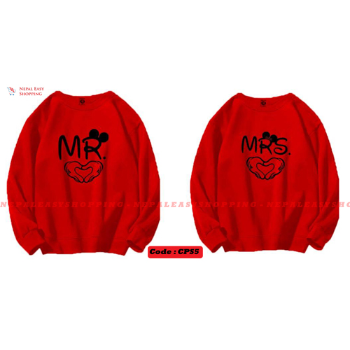 MR & MRS - Red Matching Couple Hoodies - His and Her SweatShirts