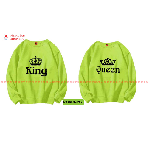 King & Queen - Green Matching Couple Hoodies - His and Her SweatShirts