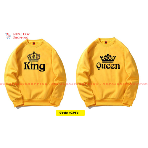 King & Queen - Yellow Matching Couple Hoodies - His and Her SweatShirts