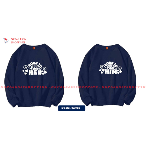 Born To Love Her & Born To Love Her - Blue Matching Couple Hoodies - His and Her SweatShirts