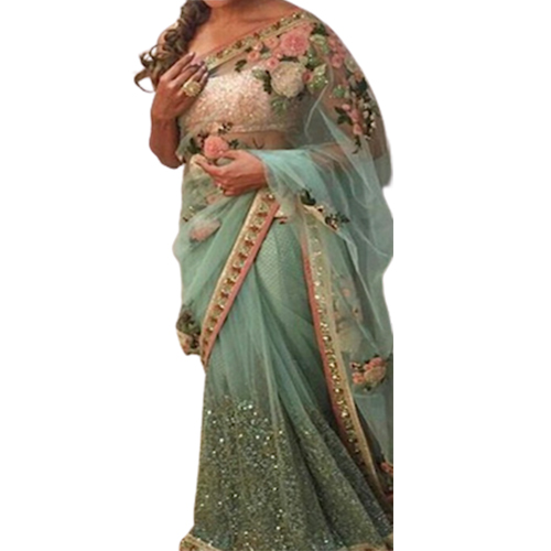 Womens Dhami Light Aqua Color Saree