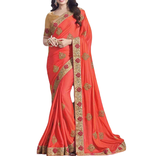 Womens Rangoli Orange Saree