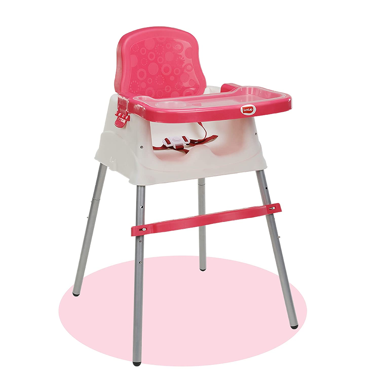 3 In 1 Feeding High Chair Table With Removable Foot-Pink