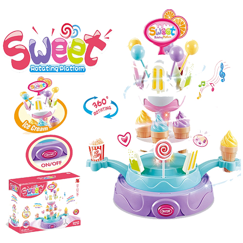 Frozen Rotating Candy Ice-Cream Set Pretend Play Set, Laugh and Learn Serving with Music Lights for Toddlers Early Age Development
