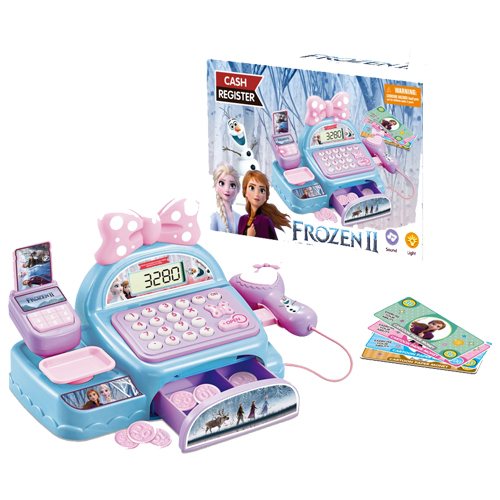 Frozen Toys Cash Register - STEM Learning 69 Piece Pretend Store with Languages, Microphone, Card, Play Money and Banking for Kids,