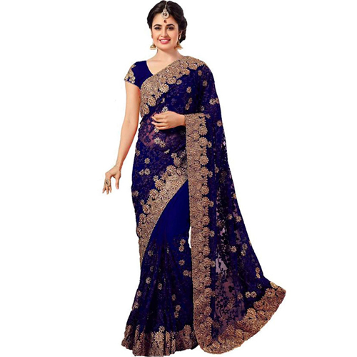 Light Blue Color Banarasi Saree with Blouse For Women