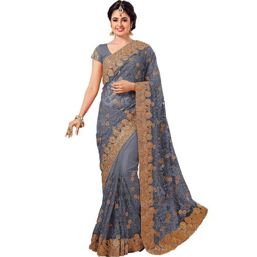 Grey Color Banarasi Saree with Blouse For Women