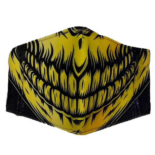 Graphic Skull Black/Yellow Printed Unisex Face Mask
