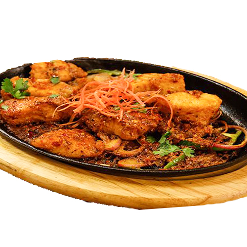 Fish Sizzler (Serve with french fries,noodles sauteed veg and mushroom sauce )