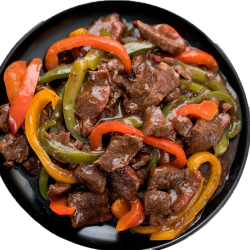 Pepper Steak (Serve with french fries,noodles sauteed veg and mushroom sauce )