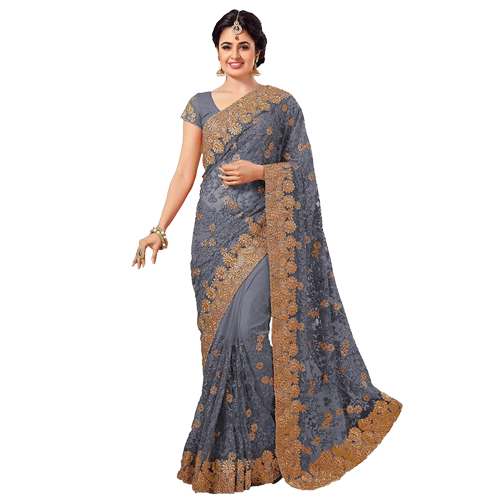 Light Grey Color Banarasi Saree with Blouse For Women
