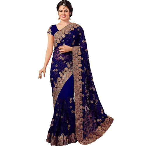 Navy Blue Color Banarasi Saree with Blouse For Women