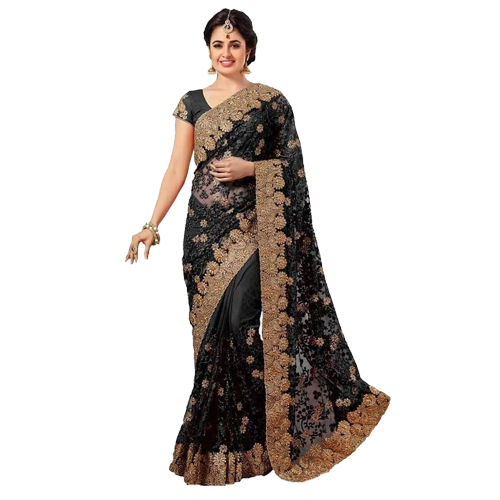 Black Color Banarasi Saree with Blouse For Women