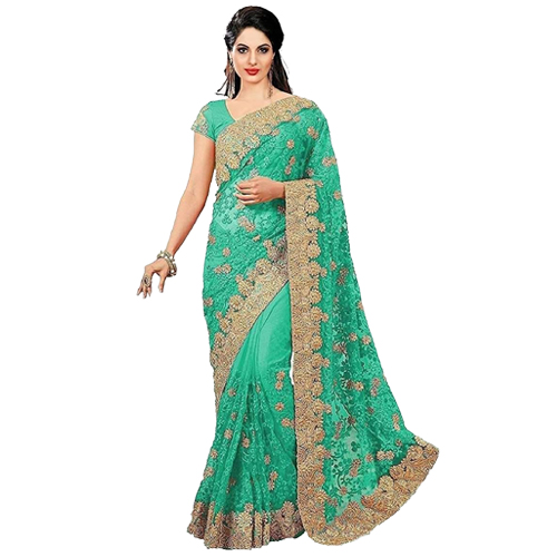 Light Green Color Banarasi Saree with Blouse For Women