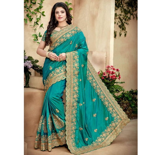 Green Color Banarasi Saree with Blouse For Women