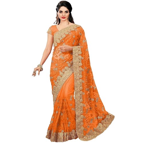 Orange Color Banarasi Saree with Blouse For Women