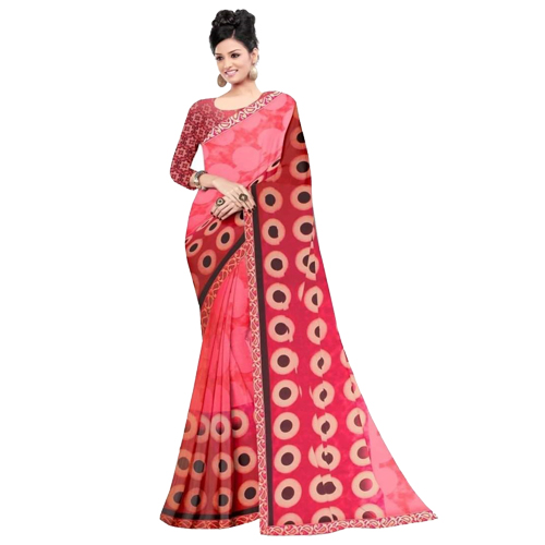 Pink Color Banarasi Saree with Blouse For Women