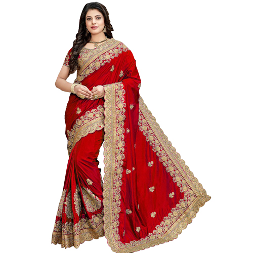 Blood Red Color Banarasi Saree with Blouse For Women