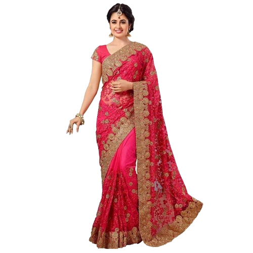 Rose Pink Color Banarasi Saree with Blouse For Women