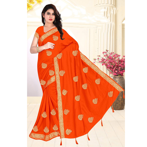 Orange Color Georgette  Saree with Blouse For Women