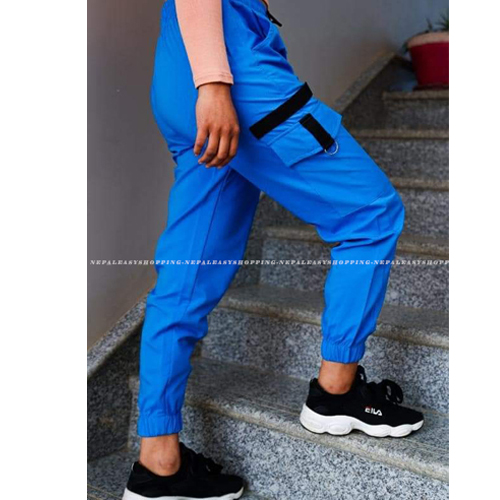 Women's Casual Stretch Drawstring Blue Jogger Pants  with Pockets