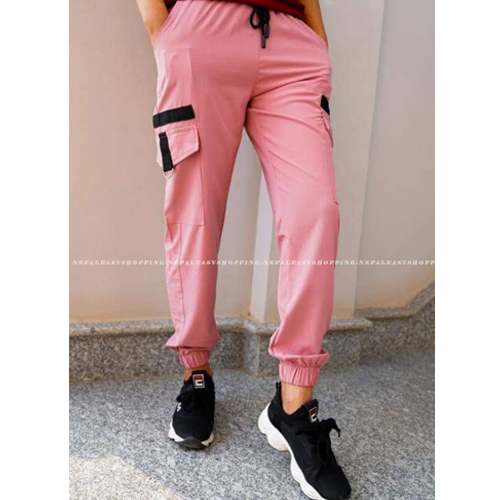 Women's Casual Stretch Drawstring Pink Jogger Pants  with Pockets
