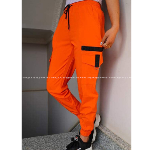 Women's Casual Stretch Drawstring Orange Jogger Pants  with Pockets
