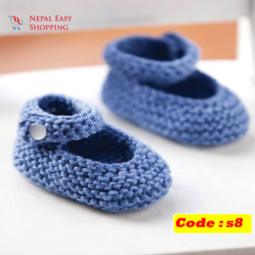 Handmade Newborn Knit Acrylin Navy Blue Shoes, Soft Acrylic Baby Booties, Baby Girl Welcome Gift,Newborn Girl Shower Gift