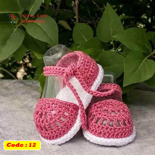 Handmade Newborn Knit Acrylin Pink Shoes, Soft Acrylic Baby Booties, Baby Girl Welcome Gift,Newborn Girl Shower Gift
