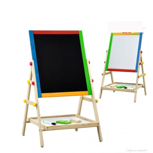 Dry Erase Drawing Board Kids 2 In 1 Black/White Wooden Adjustable Easel Chalk Double Sided Revolving Board Drawing Children