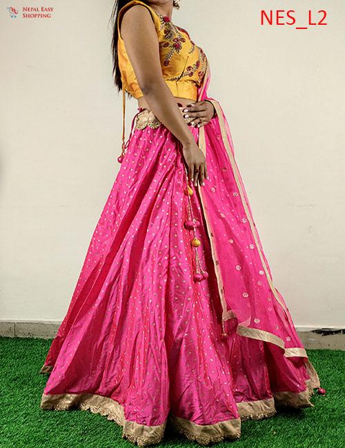 Pink Silk Lehenga Hand Imbodry Blouse
