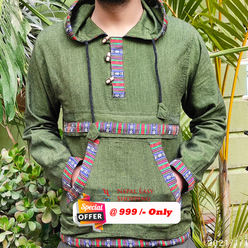 Green Hooded Bhutani Shirt For Men
