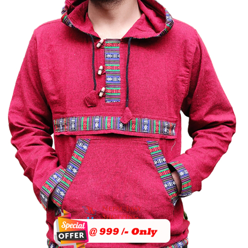 Maroon Hooded Bhutani Shirt For Men