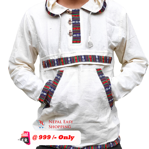 White Hooded Bhutani Shirt For Men
