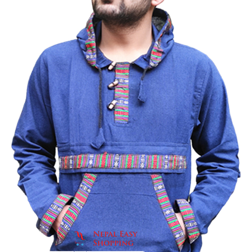 Navy Blue Hooded Bhutani Shirt For Men
