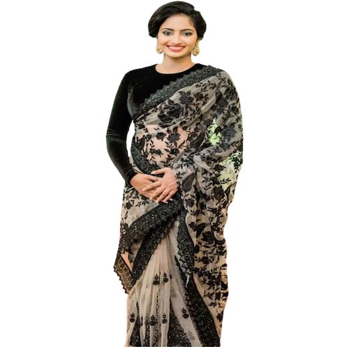 Womens Dhami Black Flower Design Saree
