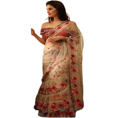 Womens Dhami Red Flower Border  Design Saree