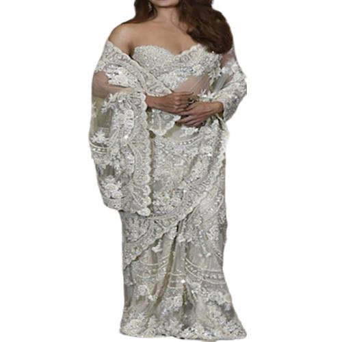 Womens Dhami Silver-Grey Color Saree