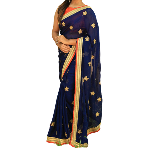 Womens Dhami Dark Blue Color Saree