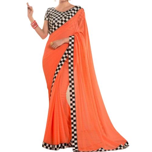 Womens Mintorsi Orange Color Saree