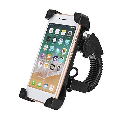 "Motorcycle Phone Mount with USB Charger Port, Bike Motorcycle Cell Phone Holder Mount Stand Bracket for Most Mobile Smartphones (4"" to 7"")/GPS,Adjustable Clamp,on Handlebar"